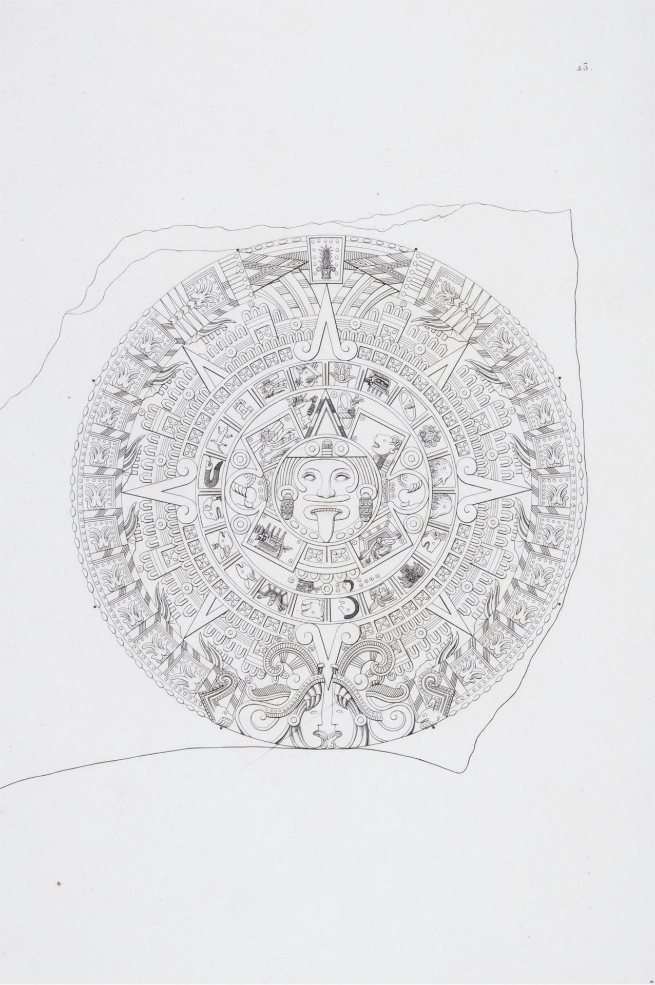 Relieve en basalto representando el calendario mexicano